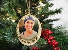 Christmas Ornament Cancer Survivor - Double Hang With Your Custom Photo Print on Wood Personalized Name Holiday Ornaments, Christmas Bulbs, Holiday Decor, Christmas Ideas, Ornaments Design, Custom Ornaments, Custom Photo Printing, Ribbon On Christmas Tree, Ribbon Design