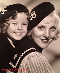 Early Fox Studio Glamour Photo of Shirley Temple in a Monogrammed Beret with another actress. Shirly Temple, Fox Studios, Men Are Men, Tomorrow Is Another Day, Glamour Photo, Thing 1, Child Actresses, She Movie, Gifted Kids