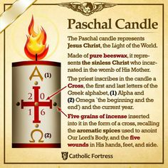 Easter Vigil The Paschal Candle Catholic Easter, Catholic Lent, Catholic Theology, Catholic Religious Education, Catholic Answers, Catholic Religion, Catholic Quotes, Catholic Prayers, Religious Quotes