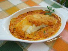 Bacalao con manzana Cod Fish, Seafood Recipes, Macaroni And Cheese, Toast, Gluten Free, Breakfast, Ethnic Recipes, Drinks, Gastronomia