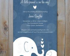 Elephant Baby Shower Invitation / Little by FancyShmancyNotes