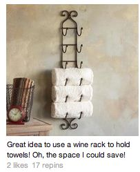 Bathroom Storage Ideas for Small Spaces - Wine Rack for Towels - Click Pic for 42 DIY Bathroom Organization Ideas Towel storage for pool room? Bathroom Organization, Organization Hacks, Bathroom Storage, Bathroom Ideas, Bathroom Cabinets, Organizing Tips, Unit Bathroom, Bathroom Wall, Bathroom Inspiration