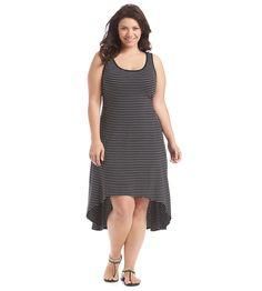 Marc New York Performance Plus Size High-Low Stripe Tank Dress
