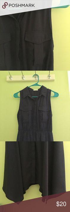 Sienna Sky collared dress Navy blue collared dress with adorable wavy hem. EUC, worn once. Sienna Sky Dresses Midi