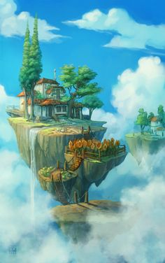 float islands by ~DawnElaineDarkwood on deviantART... some rocks in the Aether have a lingering stability field, so people building houses.