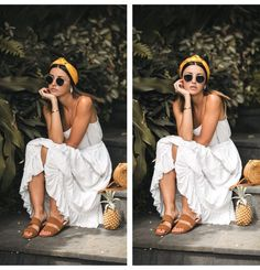 dress: Lovely Pepa (s/s // sandals: Mango (s/s // headband: Zara (s/s // bag: bought in Bali // sunglasses: Ray Ban earrings: Adornmonde Fall Outfits, Casual Outfits, Cute Outfits, White Summer Outfits, Look Fashion, Fashion Outfits, Bali Fashion, Mode Blog, Moda Boho
