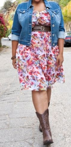 Spring is here and summer is around the corner & so are those outdoor concerts! Get this outfit to dance around in at The Curvy Girls Boutique! Pair our plus denim jacket with our country chiffon dress to create this cute look! shop our website at www.thecurvygirlsboutique.com  Like us on Facebook at  www.fa ebook.com/thecurvygirlsboutique