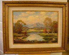 Anton Gutknecht Oil on Canvas Painting Framed Signed Landscape Mouintains
