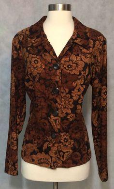 Women's Brown Black Sag Harbor Button Front Stretch Career Jacket Top Size Large #SagHarbor #ButtonDownShirt #Career