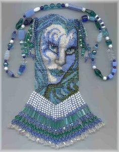 A Muse Ink Beadwork Designs - Hydra amulet beaded goddess. blue