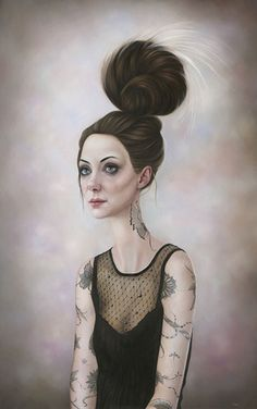 First featured in Hi-Fructose Vol. Dunedin, New Zealand based artist Sarah Dolby has always created character driven portraits. Her paintings combine aspects of traditional portraiture with her… Surrealism Painting, Pop Surrealism, Hi Fructose, Creature Of Habit, Tumblr, Interesting Faces, Magazine Art, Female Art, Fairy Tales