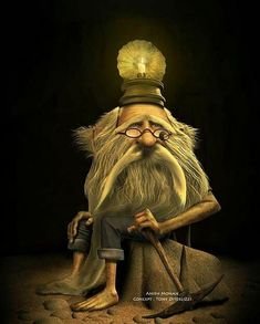 m Gnome miner underdark npc On his head is a candle to light the way -♫ Hi ho- Hi ho - it's off to work I go. -by Jean Baptiste Monge Magical Creatures, Fantasy Creatures, Fantasy World, Fantasy Art, Elfen Fantasy, Trolls, Spiderwick, Kobold, Elves And Fairies