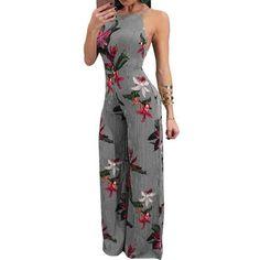 153fd0ddad3 Fashion Women Summer Jumpsuit Sexy Ladies Boho Floral Beach Playsuit Long  Maxi Jumpsuit Wide Leg Jumper Clothes