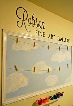 I like this for a hallway or landing wall to display children's art!!! It beats it being stuck to the fridge and I just think its so cute!!!!!!