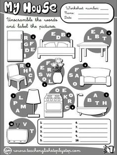 My house - Worksheet 7 (B&W version)