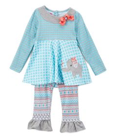 Take a look at this Blue Elephant Tunic & Ruffle Leggings - Infant, Toddler & Girls today!