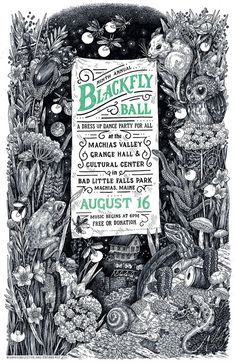 Blackfly Ball 2014 Poster. Absolutely beautiful  drawing and use of a single color.