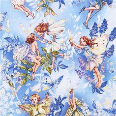 Fee Märchen Stoff blau Michael Miller Dawn fairies 2
