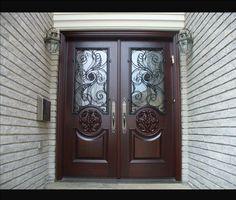 exterior front doors wood mahogany front door with glass. Double Front Entry Doors, Wood Entry Doors, Exterior Front Doors, Garage Doors, Door Entry, Entrance Doors, Entryway, Double Door Design, Wooden Main Door Design
