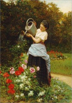 Watering Flowers ~ Theophile Emmanuel Duverger ~ (French  1821-1886)