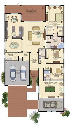 The Egret at Marina Bay - 3 Bedrooms, 3 bathrooms, Game Room, Great Room, Screened and Covered Patio and Garage House Layout Plans, New House Plans, Dream House Plans, Modern House Plans, House Layouts, House Floor Plans, My Dream Home, House Front Design, Modern House Design