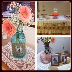 Lovely decor for a late summer wedding shower! Perfect blues!