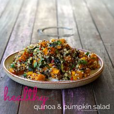 healthy quinoa and pumpkin salad the merrymaker sisters Quinoa Paleo, How To Cook Quinoa, Sugar Free Recipes, Raw Food Recipes, Healthy Recipes, Food Events, Pumpkin Salad, Appetizer Salads, Vegetable Salad