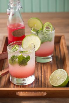 Rhubarb Mojitos: Just as bright and unexpected as the color, is the flavor. All the tartness of rhubarb and lime, turned into a sweet, floral, and balanced cocktail.