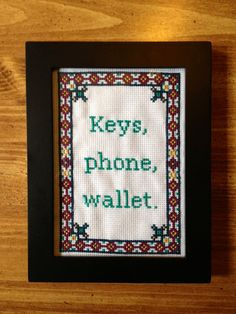 Haha, I want this but I'm way too lazy to cross stitch! - PATTERN Keys Wallet Phone Cross Stitch