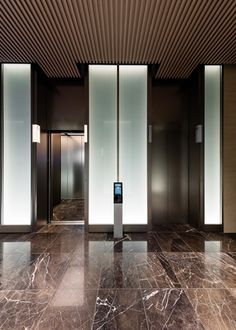 Office Entrance, Office Lobby, Lobby Design, Hall Design, Elevator Design, Elevator Lobby, Lift Design, Travertine Floors, Lifted Cars