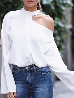 Cut Out Bell Sleeve Button Detail Blouse fashion Boho,fashion Classy,fashion Outfits,fashion Trends, Look Fashion, Autumn Fashion, Womens Fashion, Fashion Design, Classy Fashion, Fashion Styles, Cheap Fashion, Fashion Brands, Blouse Styles