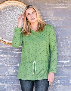 NEU Übergröße Damen Pullover grün weiß Rückenteil länger geschnit Gr.48//50,56//58