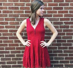red lace dress from free people/  holiday ready? check