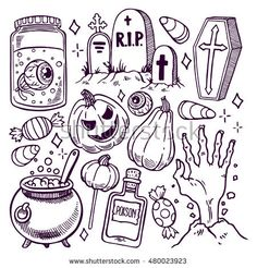 -Set of different attributes of Halloween. hand-drawn illustration Set of different attributes of Halloween. hand-drawn illustration See it Halloween Doodle, Halloween Tags, Halloween Pictures, Cute Halloween Drawings, Halloween Things To Draw, Halloween Tattoo Flash, Halloween Tombstones, Halloween 2019, Halloween Costumes