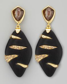 Durban+Lucite+Earrings,+Black+by+Alexis+Bittar+at+Neiman+Marcus.
