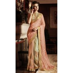 Indian Rag Peach Designer Embroidered net Saree