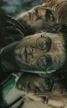 The golden trio immagini Harry Potter Voldemort, Arte Do Harry Potter, Harry Potter Painting, Fanart Harry Potter, Harry Potter Artwork, Harry Potter Pictures, Harry Potter Drawings, Harry Potter Tumblr, Harry Potter Wallpaper