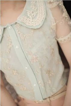Sweet embroidered pearl lapel puff lace blouse ~ so beautiful!