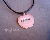 Hand Stamped Copper Apple Necklace
