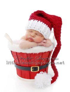 Newborn Santa Elf Hat Burgundy And White Pom Pom Photography Prop. $26.00, via Etsy.