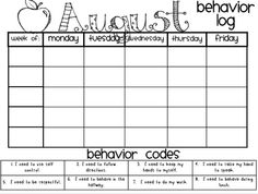 behavior calendar template. I am going to tweak this to fit my ...