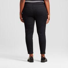 Women's Plus Size Denim Jeggings - Ava & Viv Black 18WS, Size: 18W Short