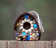 Sparrow Birdhouse with sea shells, Turquoise Blues, turtle, sea horses and Ocean Accents Sun Kissed Mosaic birdhouse tree tropical theme by WinestoneBirdhouses. Explore more products on http://WinestoneBirdhouses.etsy.com