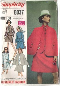 Simplicity 8037 Vintage Sewing Pattern Designer Lined Skirt Suit & Cape Jacket Has Princess Seams Button Loop Closure and Flaps or Belt Channels Cape Has Flaps and Stand Collar A-line Skirt Is Waistband Darted Zip: SIMPLICITY PATTERNS: Amazon.com: Books