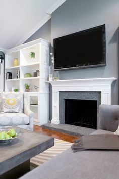 Such debates about a TV over the fireplace.  Does it look cheesy?  So, when did you last entertain the president in this room?   Is this YOUR family room?  Do you have a beer, wear jammies, cuddle the kids, and eat nachos here?  Put the TV wherever you want to!
