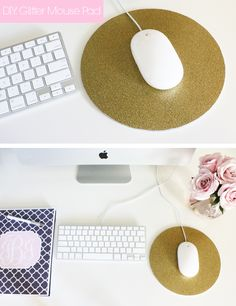 The Desk Series: DIY Glitter Mouse Pad