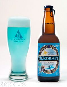 For most people brightly colored beer is a novelty reserved for certain holidays or sporting championships, but the Abashiri Brewery in Hokkaido, Japan takes it very seriously. For instance, to brew their Ohotsk Blue Draft they don't just toss in a little blue food coloring, they use seaweed grown locally to create the bright blue hue, and as if that weren't cool enough, the beer is brewed using water from melted ice floats that annually pass by the northern beaches of Hokkaido.