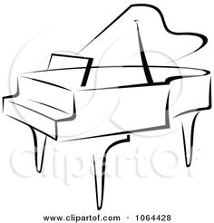 Clipart Grand Piano In Black And White - Royalty Free Vector ...