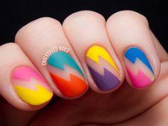 Bold Bolts - Deborah Lippmann Rewind Nail Art Rad negative space lightning bolt nail art featuring Deborah Lippmann's Rewind collection and Nail Vinyls. Colorful Nail Designs, Nail Art Designs, Colourful Nails, Toe Designs, Nails Design, Diy Nails, Cute Nails, Shellac Nails, Gel Nail