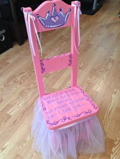 "Princess Time Out Chair. ""Time out to think about the things that we do, but always remember that I love you...""   This is $155 on etsy, I think I could make it???"